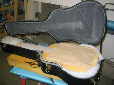 Packed guitar ready for shipment